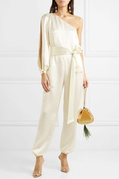 Haney - One-sleeve hammered silk-satin jumpsuit Satin Jumpsuit, Jumpsuit Outfit, Elegante Y Chic, Fashion Pants, Fashion Outfits, Short African Dresses, Gown Suit, Fashion Sewing, Elegant Outfit