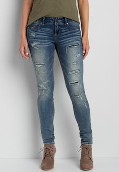 DenimFlex™ jegging with lined destruction in medium wash (original price, $103.98 ) available at #Maurices