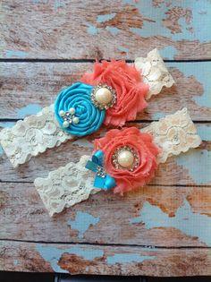 Wedding garter SET / Turquoise  / Coral  / by FallenStarCoutureInc