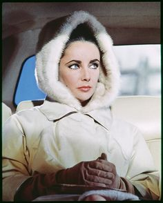 Taken in 1963, this shot of a ski-bunny-esque Taylor in the back of a car is a still from the movie The V.I.P.s..#fur #cars #furonline Add Pin Share @anandco