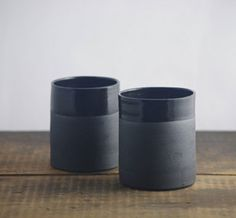 black stoneware cups, by vitrifiedstudio ~ I'm liking the color difference b/t gloss & matte. Pottery Mugs, Ceramic Pottery, Earthenware, Stoneware, Gloss Matte, Black Clay, Ceramic Design, Ceramic Clay, Decorative Objects