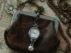 Assemblage Necklace Leather Coin Purse Vintage Watch by 58Diamond