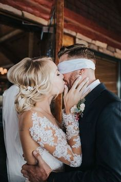 Cute first look photo idea - blindfolded first look photo idea {Alex Lasota Photography}