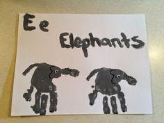 Fun preschool art activities, A to E hand print alphabet arts for Kindergarten kids, kids hand painting ideas, hand printed arts for preschool kids