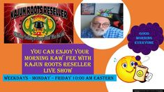 You can enjoy Your Morning Kaw`fee with Kajun Roots Reseller Live Show Youtube Live, Live Show, Good Morning Everyone, It Network, Roots, Canning, Videos, Home Canning, Conservation