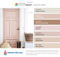 I found these colors with ColorSnap® Visualizer for iPhone by Sherwin-Williams: Moderne White (SW Pink Shadow (SW Renwick Rose Beige (SW Demure (SW Abalone Shell (SW Malted Milk (SW Only Natural (SW Pink Paint Colors, Interior Paint Colors, Paint Colors For Home, Wall Colors, House Colors, Sand Color Paint, Colours, Decoration Inspiration, Color Inspiration