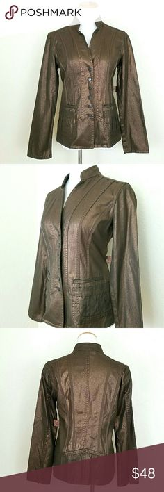 Coldwater Creek Bronze Jacket Coldwater Creek Bronze Jacket. Shaped. Stretchy. High collar. Unlined. 100% Cotton. NWT  Bust 18 Length 25  NoTradeor PP Bundle discounts Offers Considered Coldwater Creek Jackets & Coats