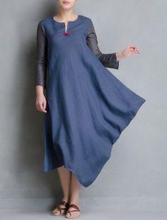 Blue Side Cowl Matty Linen Dress Indian Evening Gown, Khadi Kurta, Blouse Designs, Dress Designs, Traditional Fashion, Draped Dress, Western Dresses, One Piece Dress, Couture