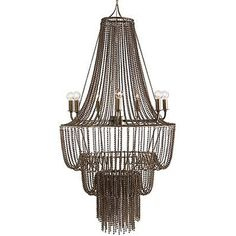 The Maxim Iron Beaded Chandelier from Arteriors features a waterfall design. This chandelier has 3 tiers of tiny oxidized iron beaded chain swags draped over iron hoops to create an impressive metalwork design in an antique brass finish.