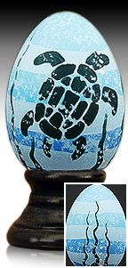 Little Sea Turtle - hand painted wooden egg by The Egg Man Alan Traynor