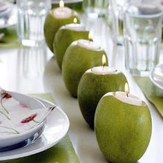 Creative way to use votive candles as your runner down your festive table setting!