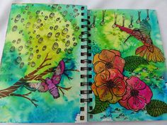 maria's knutselplezier: ART Journal 2014 using Designs by Ryn stamps: Flying Hummingbird 2, Lucine, Begonia, Three Leaves Set, Water Droplets, Trickling Water 2 and Flowing Branches (stencil)