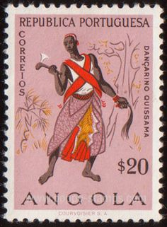 Dancer from Quissama by artist Albano Neves e Sousa . Luanda , Angola - 1957 : 20 centavos - Dance,http://www.poppe-stamps.com/images/1540000/web/1549476.jpg