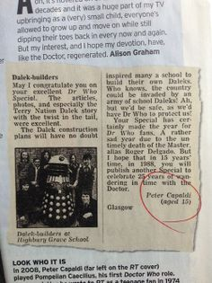 Peter Capaldi's Doctor Who fan letter: who knew he would be in the 50th Anniversary!