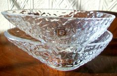 2 x Dartington~Frank Thrower~24% Crystal~Avocado Dishes~w/Label~1st~Signed~Exc!