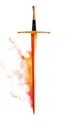 Orange steam, reflecting glow of blade. Fantasy Sword, Fantasy Armor, Fantasy Weapons, Medieval Fantasy, Modelos Low Poly, Sword Drawing, Knight Drawing, Flaming Sword, Sword Tattoo