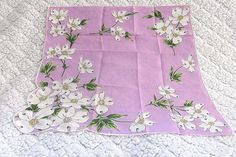 Vintage Handkerchief Lavender Purple with Dogwood White Flowers Hankie