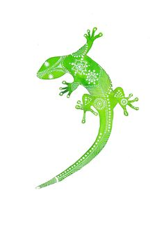 Green Gecko Archival Art Print by MagaMerlina on Etsy