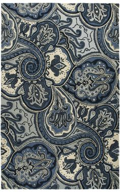 PY3018, Blue, Hand Tufted, Rizzy Rugs, Paisley available from rugsdoneright.com