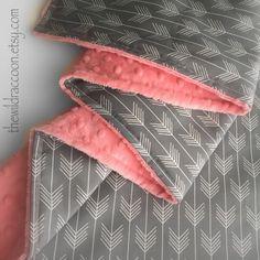 Arrow & Coral Minky Stroller Blanket Tribal Print Gray