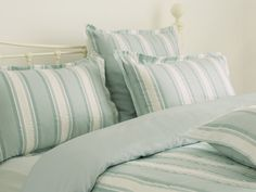 Forbury Stripe Jacquard Duck Egg Blue Cotton Mix Bedlinen Save up to Off at Laura Ashley using Coupon and Promo Codes. Cream Bedding, Linen Bedding, Bedroom Green, Master Bedroom, Childrens Room Decor, Duck Egg Blue, Awesome Bedrooms, Room Inspiration, Home Furnishings