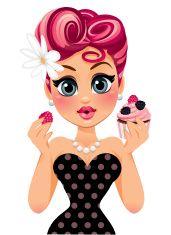 Swirly Hair Cupcake Pin Up Girl vector art illustration