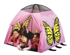 Butterfly Play Tent by Etna Products. $22.99. The Butterfly Play Tent will take your child's imagination for a wild ride! Indoors or outdoors, a magical experience is possible. Simply, set up the butterfly tent in the living room, bedroom, or backyard, and embrace Mother Nature from all angles. Pink is the color of choice, beautiful butterfly designs decorate the sides, and mesh covered windows allow light inside the tent. Enter and exit using the two large flap openings, and p...