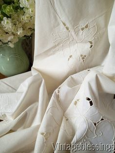 $95 Vintage Hand Embroidered Cutwork FRENCH LINEN Tablecloth Roses Pure Linen Wow! www.Vintageblessings.com