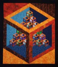 """""""Seeing What's Inside"""" by Mary Breckeen at Key West Quilts. Shadow quilt challenge based on Sara Nephew's empty cube block."""