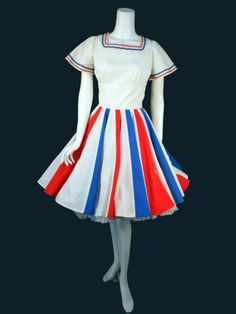 Bicentennial Square Dance Dress Red White Blue 1970s