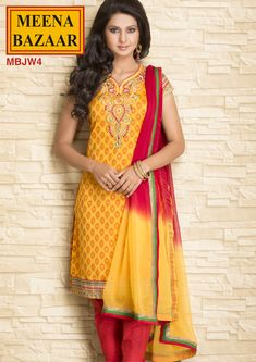 MBJW4 Embroidered Suit on Chander Fabric with Chiffon Duppata