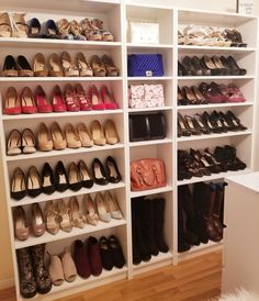 Ikea Billy Bookcases large, 1 small) for shoe and handbag display in spare ro. Ikea Billy Bookcases large, 1 small) for shoe and handbag display in spare room turned walk-in closet. Walk In Closet Ikea, Ikea Closet Hack, Organizing Walk In Closet, Ikea Closet Organizer, Closet Hacks, Closet Ideas, Bedroom Organization, Organization Ideas, Shoe Closet Organization