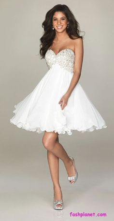 A Line Mini Short White Chiffon Sweetheart Beaded Whole Tail Party Dress Homecoming Dresses Special Occasion By Andybridal Wedding