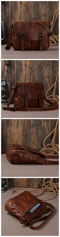 Dig dog bone Mens Shoulder Bag Leather Crossbody Bag Leather Business Casual Vertical Briefcase