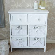 White side cabinet storage wicker unit 2 drawers table hall bedside furniture