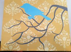 Taylor & Landon: Put a Bird on It - How to paint a damask painting with a bird on a branch - modern style