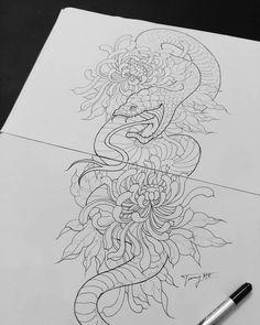 Flor Oriental Tattoo, Dragon Artwork, Japanese Sleeve, Snakes, New Tattoos, Tatting, Tattoo Ideas, Coloring, Concept