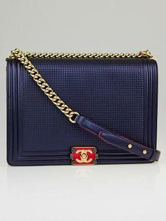 Chanel Metallic Blue Cube Embossed Lambskin Leather Large Boy Bag - Designers - 10042406
