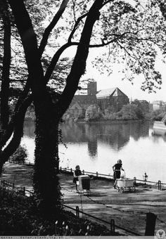 Wyspa Piasek i spacerek z dziećmi.  Lata 1925-1940 Mj, Germany, Park, Places, Outdoor Decor, Poland, City, Deutsch, Parks