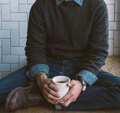 sweater + chambray + denim + boots