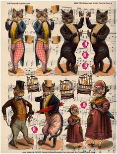 """""""Dancing Kitty Paper Dolls Bought in Paris, these images were originally from th… - Paper Diy Vintage Cat, Vintage Images, Paper Art, Paper Crafts, Foam Crafts, Etiquette Vintage, Paper Animals, Vintage Paper Dolls, Antique Dolls"""