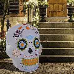Homcom Halloween Airblown Inflatable Sugar Skull Head Decoration Party Yard for sale online Halloween Wings, Halloween Garage, Halloween Front Doors, Outdoor Halloween, Halloween Skull, Halloween Night, Haunted House Decorations, Skeleton Decorations, Halloween Yard Decorations