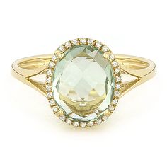 2.83ct Checkerboard Cut Green Amethyst & Round Diamond Oval Halo Right-Hand Ring in 14k Yellow Gold - AlfredAndVincent.com