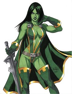 Gamora (by Scott Dalrymple) Heros Comics, Marvel Comics Art, Marvel Comic Universe, Comics Universe, Marvel Heroes, Anime Comics, Marvel Women, Marvel Girls, Comics Girls