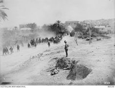 The town of Jenin on the morning after its capture by the Light Horse Brigade. As the Desert Mounted Corps was riding hard for the Esdraelon Plain, to get astride of the enemy's communications,. Turkish Army, World War One, Armed Forces, Egypt, Deserts, Horses, Palestine, Middle East, Outdoor