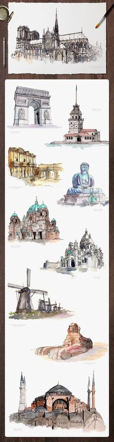 Watercolor Monument Paintings by emine on Creative Market - Calculating Infinity Watercolor Architecture, Architecture Drawings, Classical Architecture, Watercolor Sketch, Watercolor Paintings, Watercolors, Art Aquarelle, Urban Sketching, Photomontage