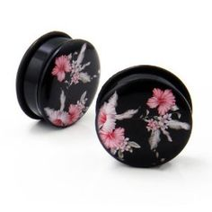 Pair of Japanese Cherry Blossom Flower Acrylic Single Flare O Ring Ear Plugs Gauges - 2g: Jewelry: Amazon.com