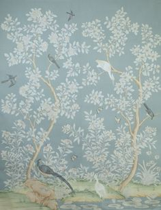 Gracie Wallpaper hand painted Chinese scenic panel created in the same manner as those produced in the 18th and 19th centuries.