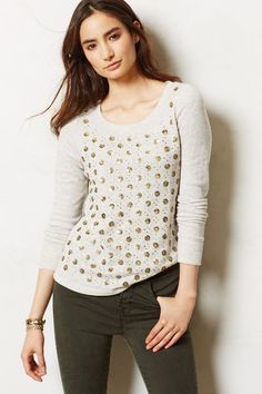 Have a ton of grey in your closet?  To mix things up, look for some grey that has been given a little adornment.  Makes all the difference.  Dazzledot Sweatshirt - anthropologie.com | Chasing Life