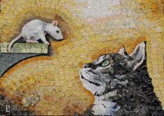 """Ritratto di Gatto """"Il patto segreto"""" Mosaico in Marmi policromi, travertini, pietre Indiane, quarzi e Pirite cat portrait """"The secret pact"""" Mosaic with marble, travertine, Indian stones, quartz and pyrite"""